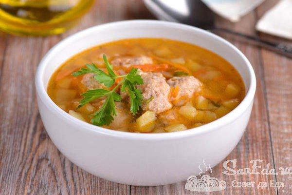 Быстрый суп с фрикадельками