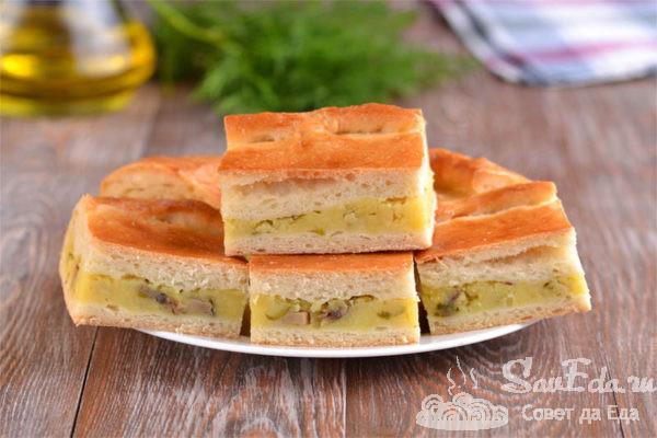 Пирог с картошкой и грибами из дрожжевого теста