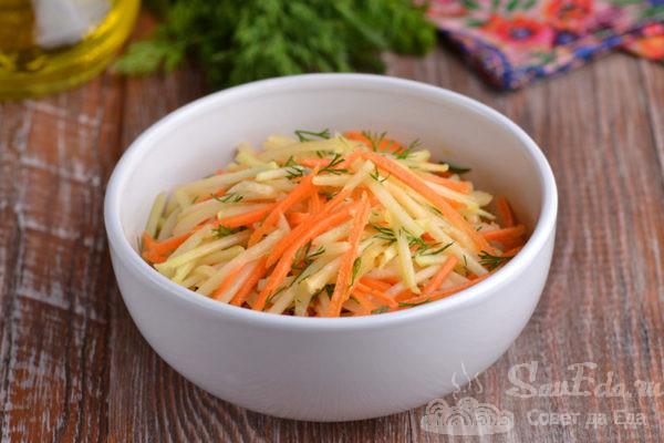 Салат с кольраби и морковью