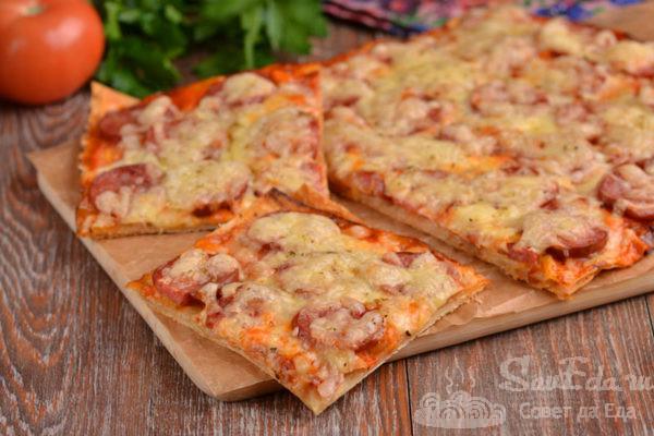 Быстрая пицца на лаваше в духовке