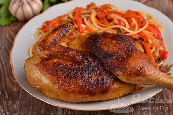 Жареная курица в соевом маринаде