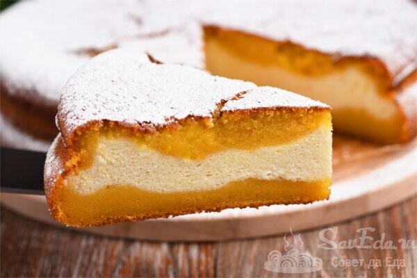 Заливной тыквенный пирог с творожной начинкой