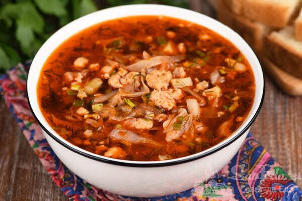 Быстрый суп с фаршем и капустой