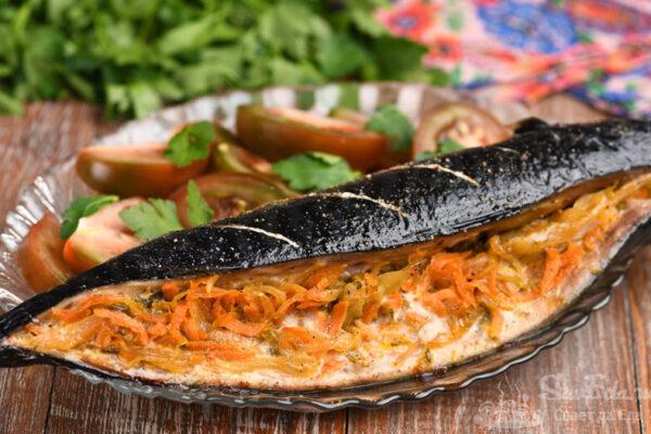 Скумбрия с овощной начинкой в духовке