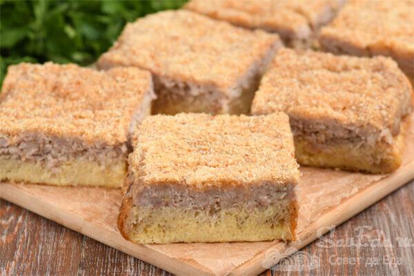 Ленивый пирог из хлеба и фарша
