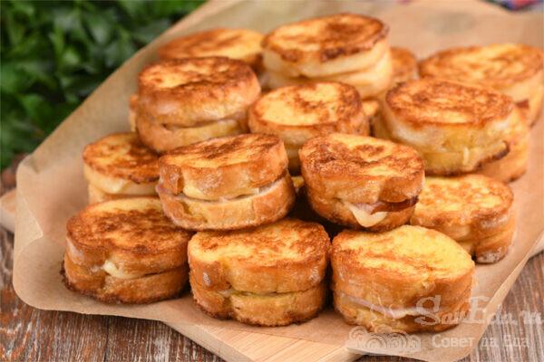 Гренки-бутерброды на сковороде